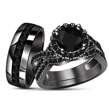 Bridal Ring Set Black Round Cut Diamond 14k Solid Black Gold Finish 925 ... - $156.98