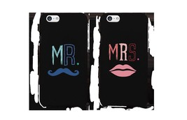 Mr Mustache and Mrs Lips Black Matching Couple Phone Cases Wedding Gift - $19.99