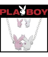 Playboy Jewelry Set Bunny Necklace Earrings Pink White Kissing Bunnies L... - $32.69