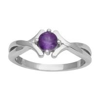 Indian Women Engagement Ring 6 MM Amethyst Gemstone Silver Ring Sz 7 SHR... - $14.36