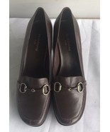 Liz Claiborne 'Goody' FLEX Zone Brown Leather Horse bit Pumps Sz 9M - $29.69