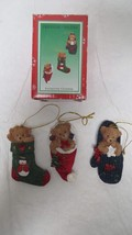 Set of 3 Cristoline Holiday Bears in Stocking, Hat, & Mitten Ornaments - $6.79