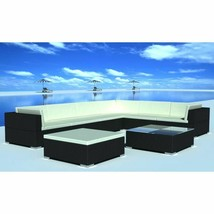 vidaXL 24 Piece Outdoor Lounge Set Wicker Poly Rattan Black Garden Patio... - $573.99