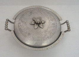 vintage everlast forged aluminum handle bowl with floral design lid cover - $12.17