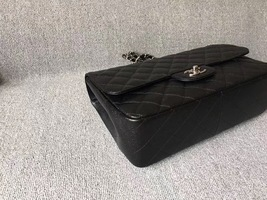 AUTH CHANEL BLACK QUILTED CAVIAR LEATHER JUMBO CLASSIC FLAP BAG SHW image 4