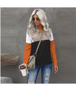 Orange women's stand collar zipper stitching long-sleeved round neck top - $54.50