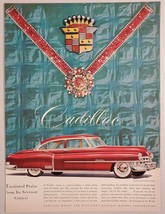 1950 Print Ad Cadillac 4-Door Red Car with Wide White Wall Tires - $13.35