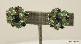 unsigned high end peridot green tourmaline green marquis floral clip on 4026 - $14.00