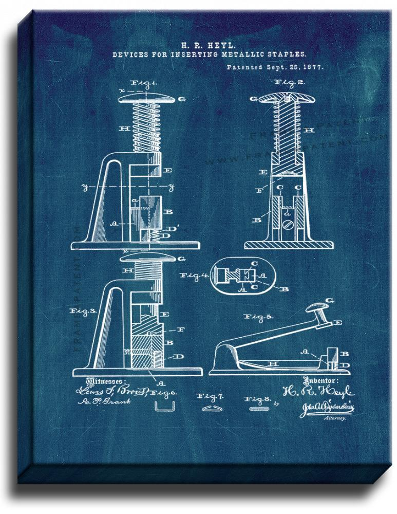 Primary image for Stapler Patent Print Midnight Blue on Canvas