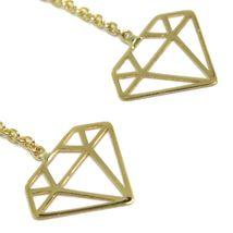 18K YELLOW GOLD PENDANT EARRINGS, OPENWORK FLAT DIAMONDS, BUTTERFLY CLOSURE image 3