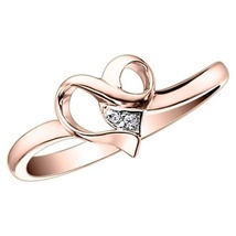 14K Rose Gold Plated 925 Silver Round Cut White CZ Ravishing Heart Shape Ring - £31.49 GBP