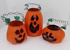 Metal Halloween Pumpkin Jack-O-Lantern Luminaries/Lanterns W/Handles - S... - £24.85 GBP