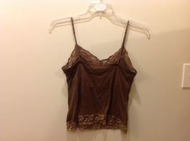 New York & Co Intimates Brown Cami w Floral Lace Trim Sz L image 4