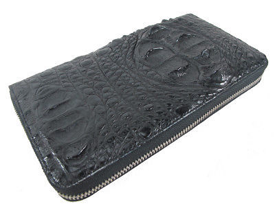 Primary image for PELGIO Genuine Crocodile Hornback Skin Leather Zip Around Clutch Wallet Black