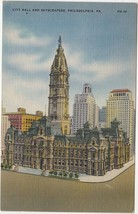 Philadelphia PA City Hall and Skyscraper Postcard Linen Colourpicture - $3.34