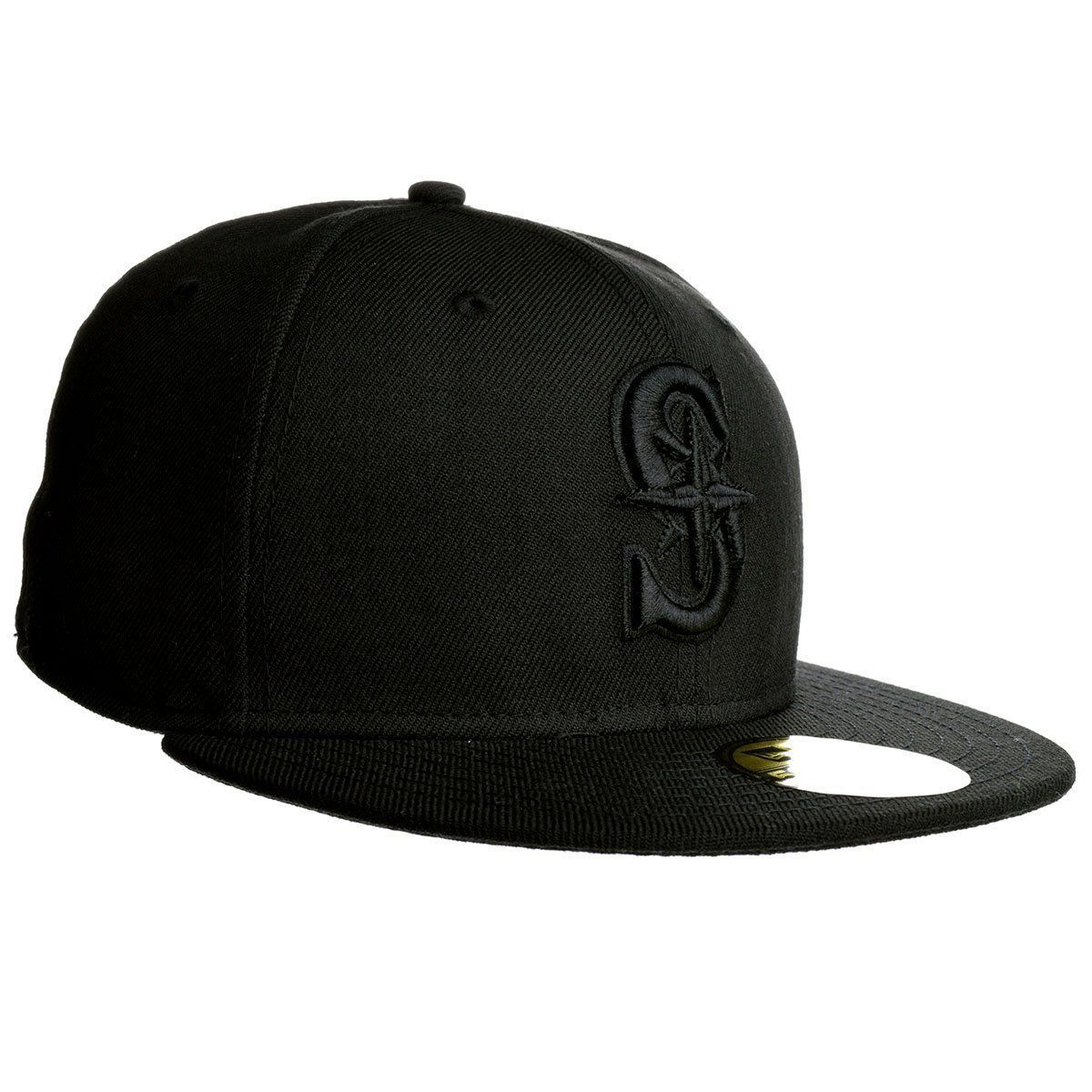 new product 3a4f9 81065 NWT New Seattle Mariners New Era 59Fifty Black on Black Size 7 Hat Cap.  Next. 1