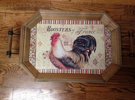 Large Wood Roosters of France Tray w/Handles Rustic Chickens Poultry  Fa... - $19.99