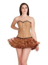 Printed Brown Leather Black Piping  Burlesque  Overbust Tutu Skirt Corset Dress - $69.62