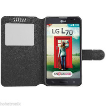 For LG Optimus L70 Exceed 2 Clip Bling Leather Magnet Strap Window Case ... - $7.01