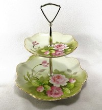 Vintage Lefton China 2 Tiered Tidbit Tray Server Hand Painted ROSES and Foliage - $65.00