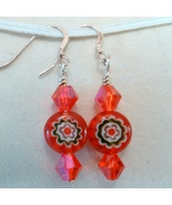 Red Crystal and Floral bead on Sterling Earrings Handmade by Deboriah - $11.99