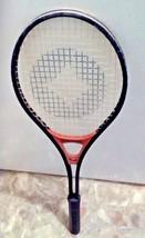 Vintage Spalding Metal Tennis Racket Black Red Center Diamond Pattern #2043 - $9.90