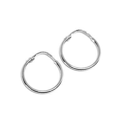 18K WHITE GOLD ROUND CIRCLE HOOP SMALL EARRINGS DIAMETER 15mm x 1.2mm, ITALY