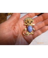 Vintage Goldtone Blue Jelly Belly Cabochon Faux Ruby Figural Dog Pin Brooch - $9.49