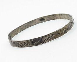 STUART NYE 925 Silver - Vintage Antique Floral Vine Bangle Bracelet - B4839 image 3