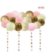 19 Pcs Pink and Gold Tissue Paper Flowers Pom Poms Lanterns and Garland ... - $19.64
