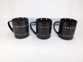 "Mikasa Viewpoint Black Potters Art Set of 3 Coffee Mugs 3 5/8"" Black w/S... - $14.95"