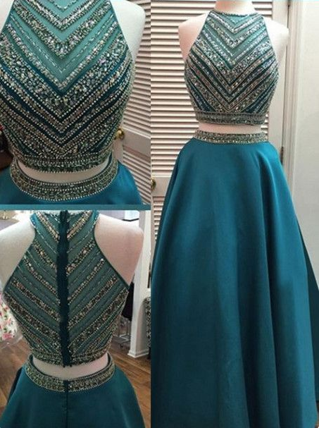blue Evening Dress,two pieces Prom Dress,long prom dress, A-line prom dress