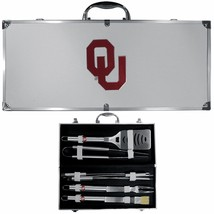 oklahoma sooners 8 pc tailgater stainless steel bbq set with metal case - $126.34