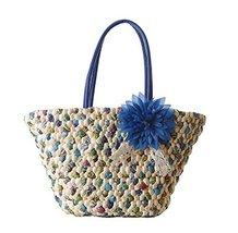 Fashion Vacation Item/Blue Chrysanthemum Straw Hand Bag/Beach Bag