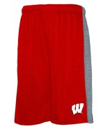 NCAA Wisconsin Badgers Men's Poly Shorts with Side Panel, Red/Grey, X-Large - $17.95