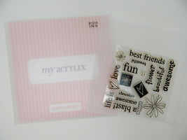 Close To My Heart Acrylix Stamp Set B1215 Life Is Phrases Beautiful Awesome Fun - $9.89