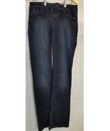 White House Black Market 6 Dark Denim Jeans 31 x 33 Skinny Flare Bling P... - $19.40
