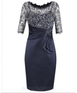 Sheath Bateau Half Sleeves Navy Blue Mother of The Bride Dress with La... - £94.25 GBP+