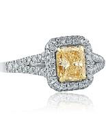 1.61 Carat VS1 Radiant Natural Yellow Diamond Engagement Ring 18k White ... - $2,828.63