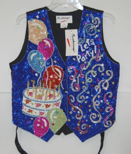 Fashion Fantasy GTS175 Brightly Multi Colored Lets Party Sequined Vest Medium