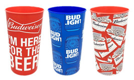 3 Budweiser Bud Light Beer LIMITED EDITION Hard Plastic Party Cups 22 OZ - $13.65