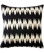Pillow Decor - Ikat Stripes Black and Cream Throw Pillow 17x17 - $29.95