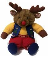 Plush Moose Dutch Holland Intl Silver Company Stuffed Animal Red Blue Ye... - $14.25