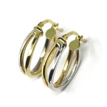 18K YELLOW WHITE GOLD PENDANT EARRINGS ONDULATE OVAL DOUBLE TUBE HOOPS 2cm image 1