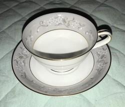 Noritake Vintage Chelsea Pattern 5822 Cup & Saucer, White Flowers on Gra... - $14.99