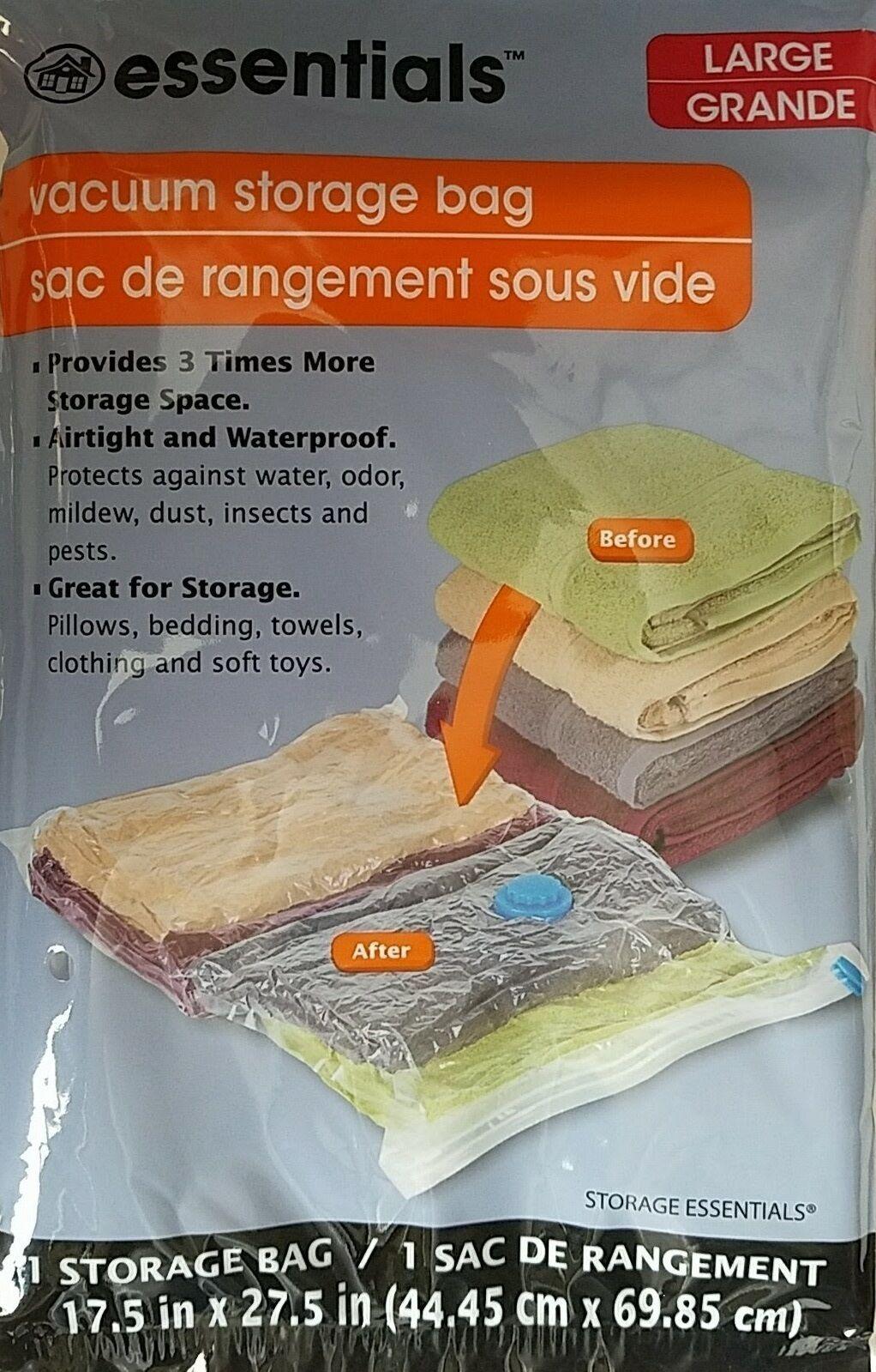 """VACUUM STORAGE BAG Large Clear Plastic Zip-Lock w Handle 17.5""""x27.5""""  1Bag/Pk - $2.96"""