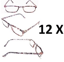 12 Pairs Pink Multicolor Floral Light Reading Glasses Wholesale +3.25 3.... - $17.95