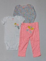 Carter's 12 Months 3 Piece Set for Girls Neon Colors Bright Pink Floral Mouse - $15.00