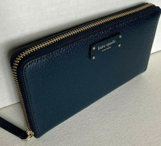 New Kate Spade New York Jeanne Large Continental Leather wallet Petrol Blue - $79.00