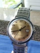 VTG 1976 Timex MARLIN Series Mechanic Watch Gold Dial Chrome GB Case Serviced - $103.91